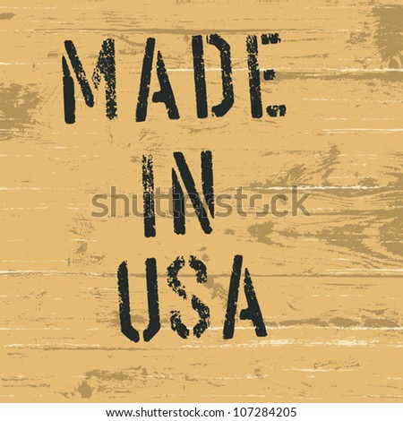 "Vintage western styled sign ""Made in USA"". Vector, EPS8 - stock vector"