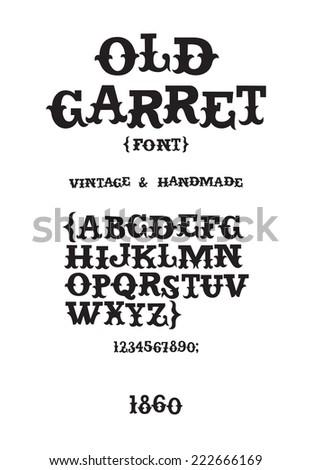 Vintage western victorian handmade font - stock vector