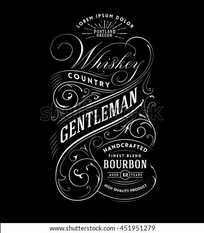 Vintage Whiskey Label. Hand drawn T-shirt Graphic - stock vector