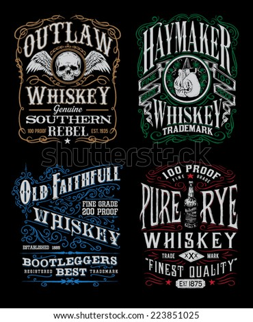 Vintage Whiskey Label T-shirt Graphic Set  - stock vector