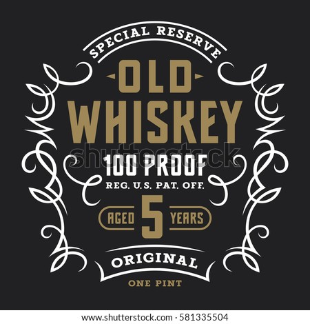 Vintage Whiskey Label Template Calligraphic Design Elements T Shirt Graphic