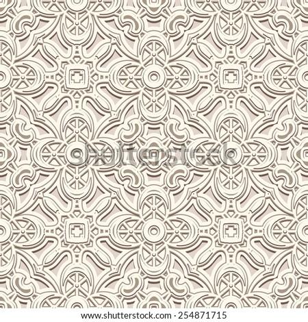 Vintage white background, elegant pale ornament, vector seamless pattern - stock vector