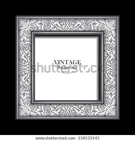 Vintage white frame, antique, victorian ornament, background for design, beautiful old paper, card, ornate cover page, label, floral luxury ornamental pattern template  - stock vector