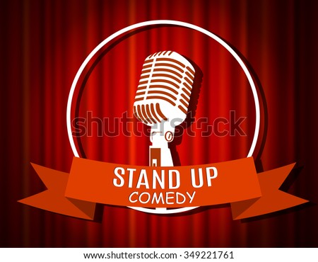 Vintage white silhouette microphone icon against red curtain backdrop. mic on empty theatre stage, vector image illustration. stand up comedian night show background. retro design. ribbon - stock vector