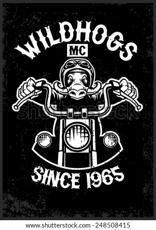 vintage wild hog motorcycle club mascot in grunge texture style - stock vector