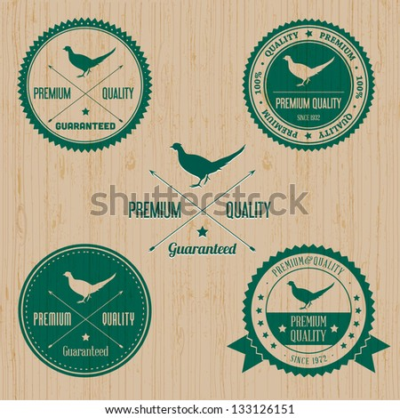 Vintage Wild Pheasant Badge set | Editable EPS vector illustration - stock vector