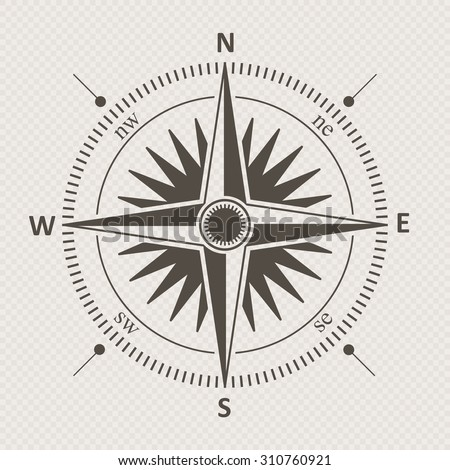 Vintage wind rose isolated vector illustration. - stock vector