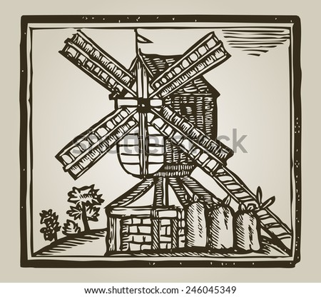 vintage windmill in european country - stock vector