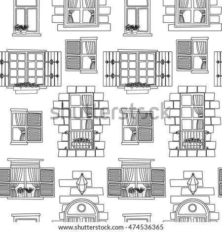 vintage window drawing. vintage window seamless pattern in black and white drawing h