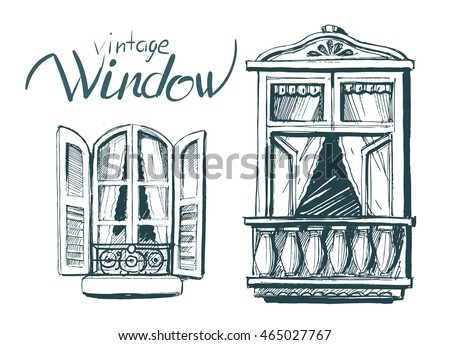 vintage window drawing. vintage window. vector sketch window drawing