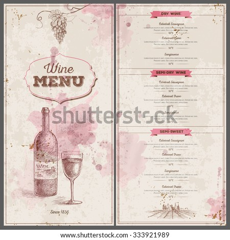 Vintage Wine Menu Design. Document Template  Free Wine List Template