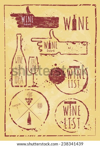 Vintage wine set kraft paper. Set of wine, wine list, wine card, wine glass, bottle of wine, wine here, wine stain, symbols wine, wine object. - stock vector