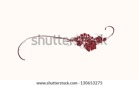 Vintage winery design element. Can be used in menu (restaurant, cafe, bar etc) or other. Includes grapes, leaves, swirls, ornaments, branches. - stock vector