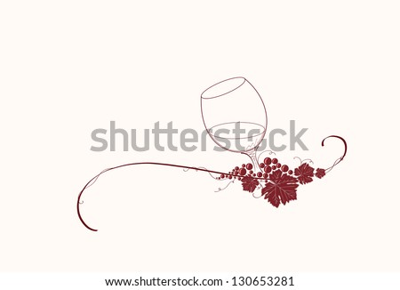 Vintage winery design element. Can be used in menu (restaurant, cafe, bar etc) or other. Includes grapes, leaves,glass, wine, swirls, ornaments, branches. - stock vector