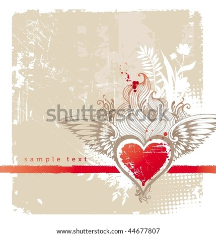 Vintage winged heart - stock vector