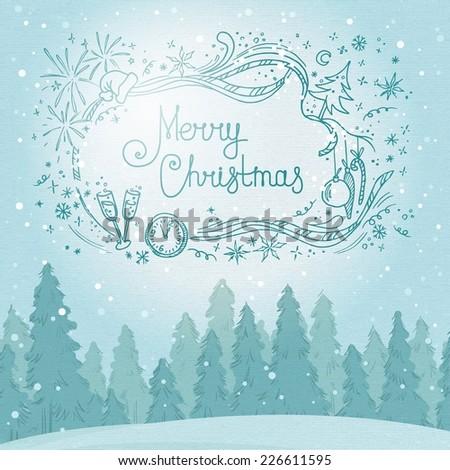 Vintage winter forest landscape. Postcard Merry Christmas. vector illustration - stock vector