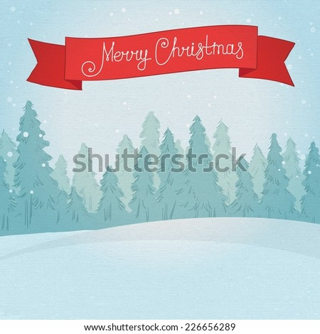 Vintage winter forest landscape. Postcard Merry Christmas. vector illustration - stock vector