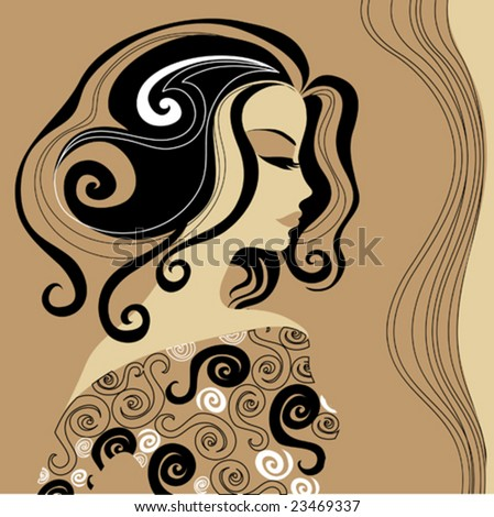 Vintage woman with beautiful hair - stock vector