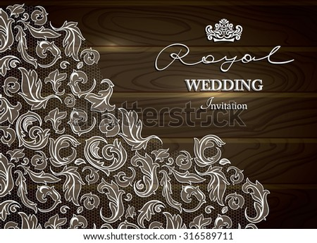 Vintage wood background, greeting card, invitation with LACE ornamental corner. - stock vector