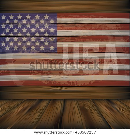 Vintage wooden American flag background with copy space. EPS 10 vector. - stock vector