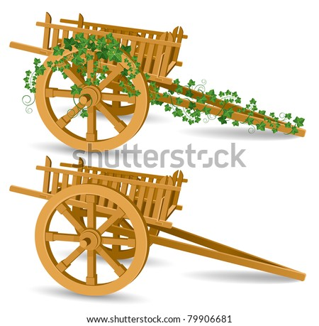 vintage wooden cart, detailed vector illustration - stock vector