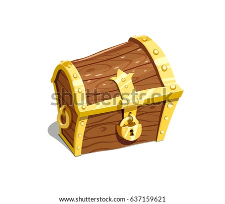 Vintage wooden chest for keep treasure, isolated white background. Vector illustration.