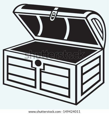 Vintage wooden chest isolated on blue background - stock vector