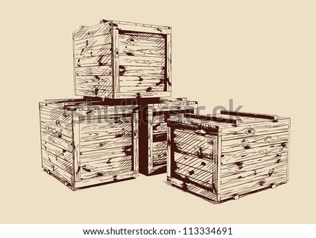 vintage  wooden crates drawn vector llustration isolated - stock vector