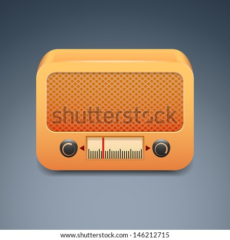 Vintage wooden radio - stock vector