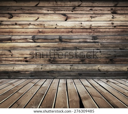 vintage wooden room, vector