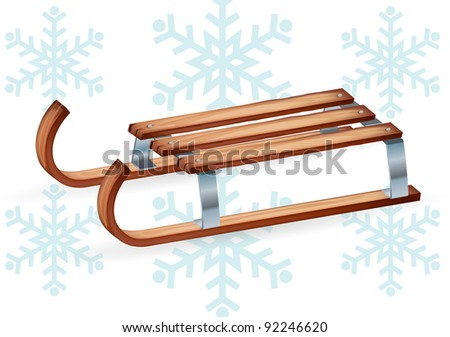 Vintage wooden sled - stock vector
