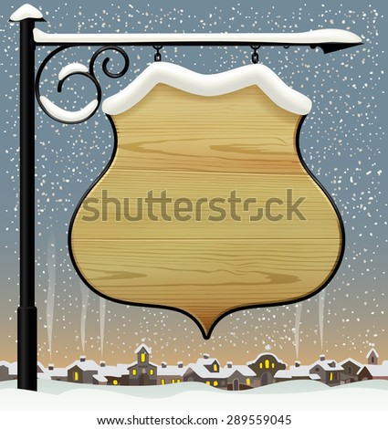 Vintage wooden street  signboard hanging on forged brackets against the winter old city. background. Vector Illustration - stock vector