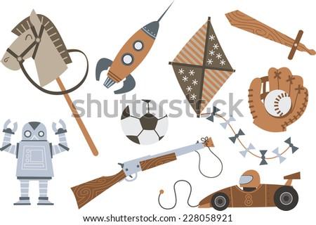Vintage Wooden Toys Horse Rocket Kite Sword Shotgun Robot Car, vector illustration cartoon.  - stock vector