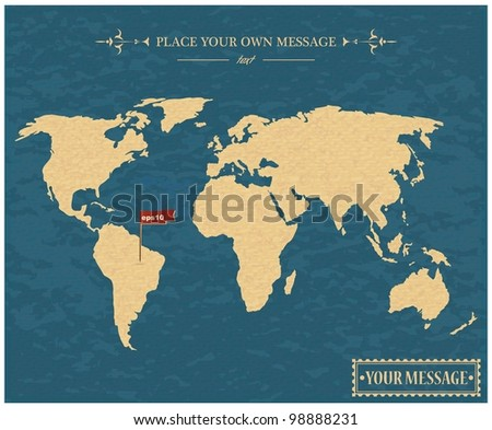Vintage world map - stock vector