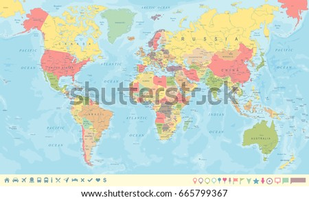 Vintage world map markers detailed vector vector de stock665799367 vintage world map and markers detailed vector illustration gumiabroncs Image collections