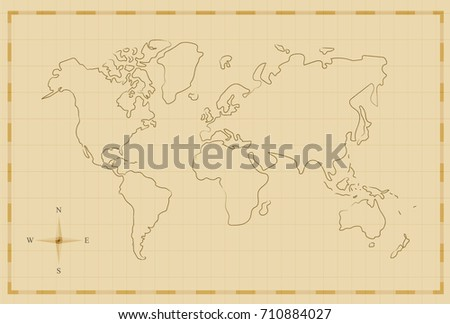 Vintage world map illustration template old vector de stock710884027 vintage world map illustration template in old hand drawn style antique pirate map concept gumiabroncs Images