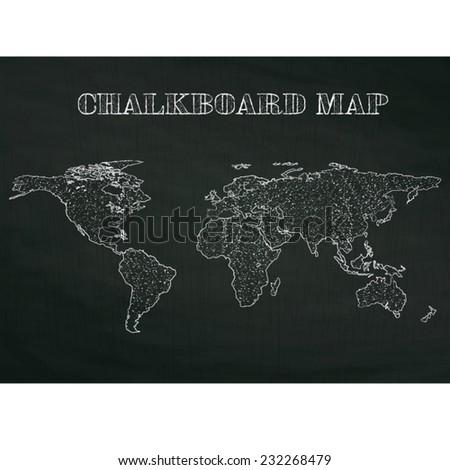 vintage world map on wood textured chalkboard, vector illustration. - stock vector