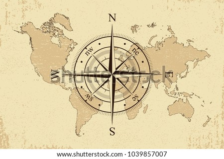 Vintage world map retro compass background stock vector hd royalty vintage world map with retro compass background old paper map and wind rose vector gumiabroncs Gallery