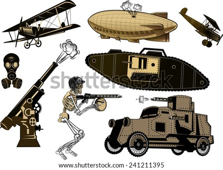 Vintage world war one biplanes and Zeppelin. World War I panzer - stock vector