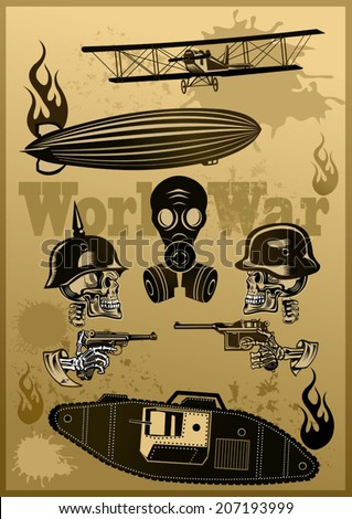 Vintage world war one biplanes and Zeppelin. World War I panzer Skull in helmet with gun cartridges and pistols  - stock vector