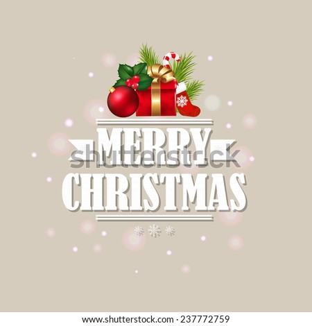 Vintage Xmas Poster With Gradient Mesh, Vector Illustration - stock vector