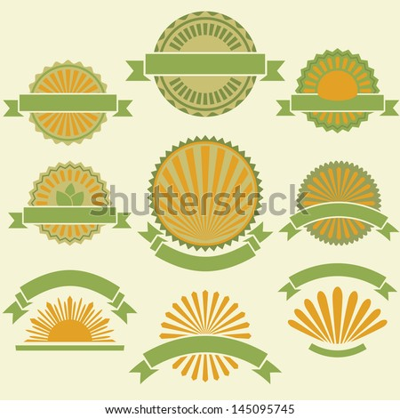 Vintage yellow and green product labels vector set. - stock vector