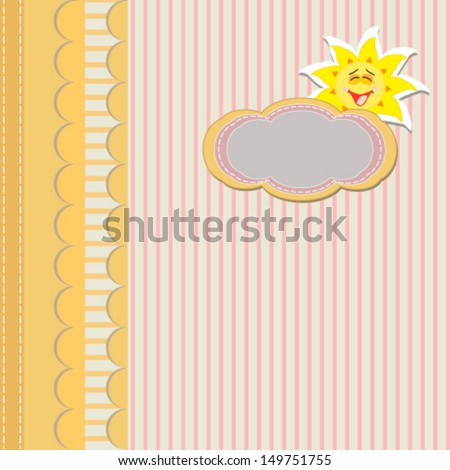 vintage yellow card with striped background, sun and copy space, for invitation or greeting card. Vector EPS8
