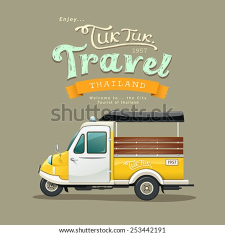 Vintage yellow motor-tricycle (Tuk Tuk) Ayutthaya, Thailand design background. vector Illustration - stock vector