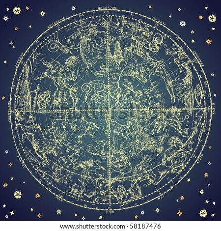 Vintage zodiac constellation of northern stars. - stock vector