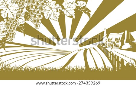 Vinyard illustration woth grapes and vine in the foreground and an a farm house thatched cottage in an idyllic landscape of rolling hills with sunrise in the background - stock vector