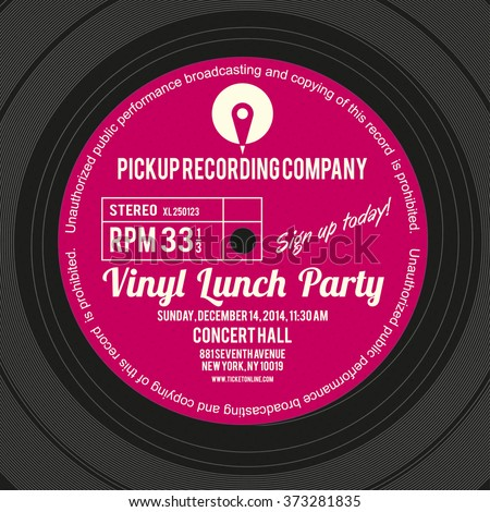 Vinyl cover or label design using as layout for concert poster of an album launch party - stock vector
