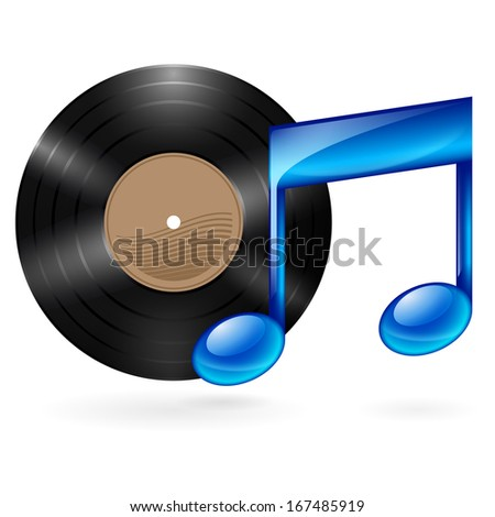 Vinyl disc and blue musical note as music icon. - stock vector