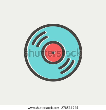 Vinyl disc icon thin line for web and mobile, modern minimalistic flat design. Vector icon with dark grey outline and offset colour on light grey background. - stock vector