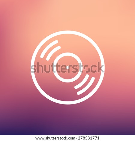 Vinyl disc icon thin line for web and mobile, modern minimalistic flat design. Vector white icon on gradient mesh background. - stock vector